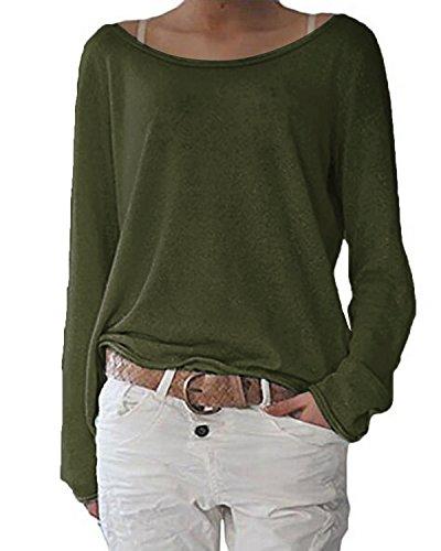 ZANZEA Damen Langarm Lose Bluse Hemd Shirt Oversize Sweatshirt Oberteil Tops Army Grün EU 46/Etikettgröße XL