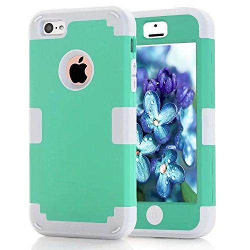 iPhone 5C Fall Süßigkeit-Farben-Series -Lantier Hybrid von weichen Silikon-Interior und Exterior harte PC Schild Schlank Leichte, stoßfest Ganzkörper-Schutzhülle für iPhone 5C Golden + Schwarz Mint Green+White
