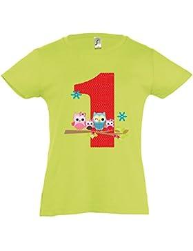 wolga-kreativ T-Shirt Eulenfamilie 1 Geburtstag Gr. 86-94 cm Geburtstagsshirt apfelgrün