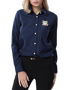Dioufond® Camisas Mujer Manga Larga con Bolsillo Blusa Mujer Estampada de Zorro
