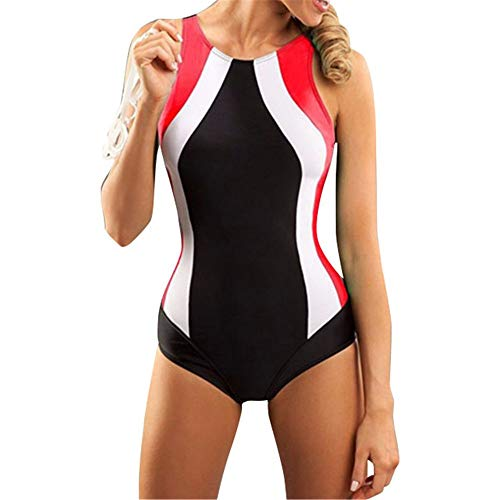 Yuqianqian Einteiler Bademode Womens Athletic Einteilige Badeanzüge Racing Training Sport Badeanzug Hohe Taille Stück Badeanzug (Color : Red, Size : S) -