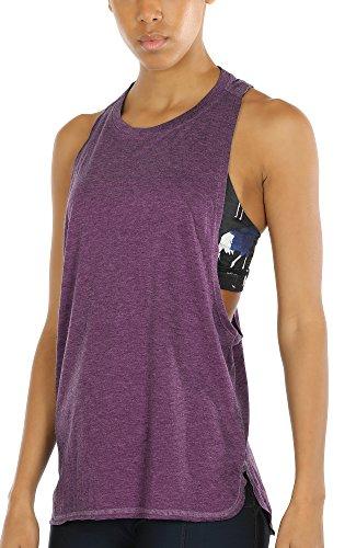 Racerback-bh Tank (icyzone Sport Tank Top Damen Locker - Yoga Fitness Shirt Racerback Oberteile atmungsaktive (Grape, M))