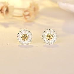 BAOZIV587 Summer Little Daisy Earrings Women's Joker Small Sun Fresh Flower Crisantemo Tremella Jewelry Set, C Pendientes de perlas de crisantemo