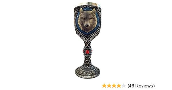 Bellaa 29950 Wolf Head Wine Goblets Ossuary Chalice Resin Body Stainless Steel
