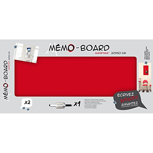 Emotion 104440 Memo Board Magnetique, Verre, Rouge, 3 x 50 x 20 cm