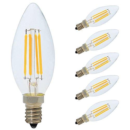 5x LED Leuchtmittel E14 Kerzenform Dimmbar 4W, Filament Kerze Lampe,Warmweiß 2700K,Klar Glas,Ersetzt 30 Watt Glühbirnen,AC 220V