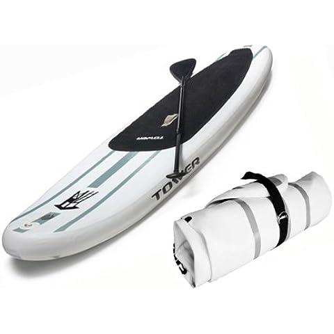 Tabla inflable de surf con remo (15,2 cm de grosor) Tower Adventurer de 3 metros, con inflador y remo ajustable de 3 piezas.