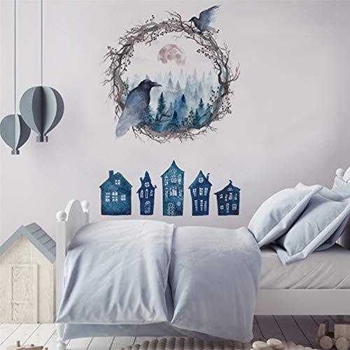 KYMLL Halloween Party Dekoration Aufkleber Wandaufkleber DIY Haunted House Ghost Vogel Tapete Halloween Dekoration Wandbild
