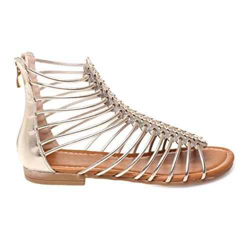 La Modeuse - Sandales basses style spartiates en simili cuir Doré