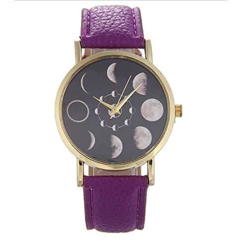 Women Lunar Eclipse Pattern Wrist Watch Casual Round Dial Quartz Watches purple