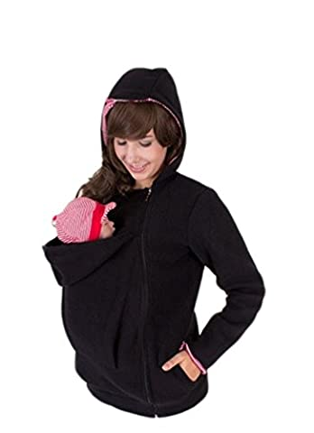 Engerla Women's Maternity Polar Fleece Outerwear Pullover Hoodie with Baby Carriers Black Large