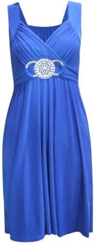 (womens plus size buckle tie back shorter length dress (STY) Femme boucle longueur plus courte robe (royal blue) bleu royal