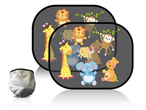 BABYSHINE® Sonnenschutz Auto Baby mit UV Schutz - Sonnenblende für Kinder (2er Set) mit Motiv Tierchen