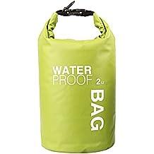 WINGONEER 2 litri sacchetto impermeabile, Custodia impermeabile per il nuoto, surf, pesca, canottaggio, sci, campeggio e altri sport all'aria aperta, protesta il vostro oggetto personale contro acqua, pioggia, neve e sudore - 2L Verde - Borsa Di Tenuta Nastro