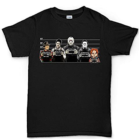 Mens The Usual Horror Suspects Halloween T Shirt L Black