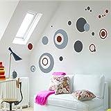 QTZJYLW Mode Dekor Kreise Runde Ring Indoor Wand Dekoration PVC Dekorative Aufkleber Entfernbare Wandtattoo (50 × 70 cm)