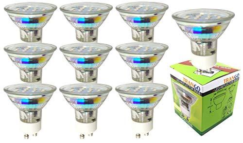 Trango 10er Pack 3.0 Watt LED Leuchtmittel GU10 Lampenfassung 3000 K warm-weiß 10TGGU1025 Glühbirnen/Glühlampen / ersetzen 35 W Halogen Lampen/Reflektorform / 230 Volt -