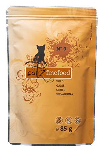 catz finefood N° 9 Wild Feinkost Katzenfutter nass, verfeinert mit Kartoffel & Preiselbeere, 8 x 85g Beutel