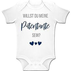 Shirtracer Strampler Motive - Willst du Meine Patentante Sein? Marine - 1/3 Monate - Weiß - BZ10 - Baby Body Kurzarm für Jungen und Mädchen