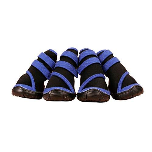 Großer Hund Schuhe im großen Hund Teddy Golden Retriever Husky Regen Stiefel Samoyed wasserdicht Rindfleisch Sehnen unteren Pet Shoe Cover (Color : Blue, Größe : L) - Rosa Mops Stiefel