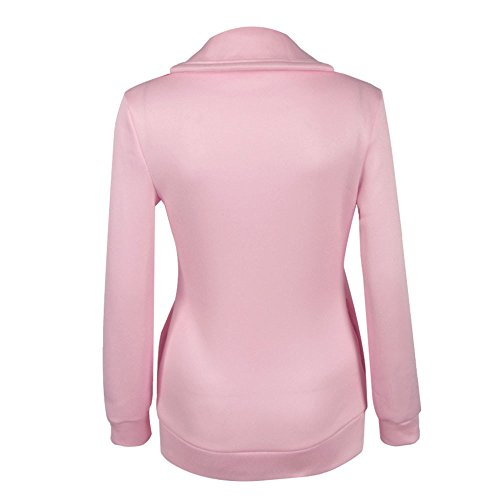 LHWY Femmes Winter Zipper Blouse Hoodie Sweat à capuche Pull Jacket Rose