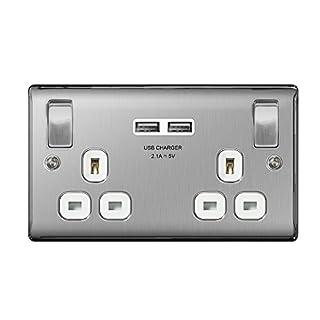 Masterplug NBS22UW Brushed Stainless Steel USB Double Socket