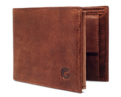 Herren Geldbörse Braun RFID Blockend Büffel Leder Elektronischer Diebstahl Schutz Portemonnaie Trifold 13 Kartenfächer Münz fach Brieftasche Schwarz Stein (Die Elektronische Geldbörse)