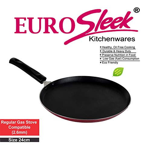 EuroSleek Non Stick Dosa Tawa Regular Gas Stove Compatible (24 cm /240 mm/9 Inches) (Size No.10) (2.6mm Thickness)
