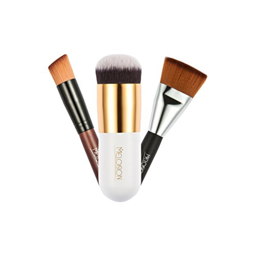 Frcolor 3pcs pinceau de maquillage Set Blush Brush Flat Top Foundation Brush avec brosse à tête oblique