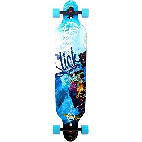 Longboard Slick Carver Drop Through 106 cm Freeride Skateboard Cruiser , Farbe:Blue Art (Longboard Carver)