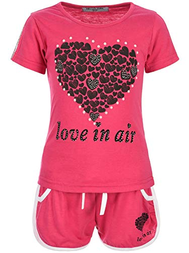Top-set Capri (Kinder Mädchen 2Tlg. Set T-Shirt Wende-Pailletten Kurze Shorts Short Sleeve 30022 Pink 104)