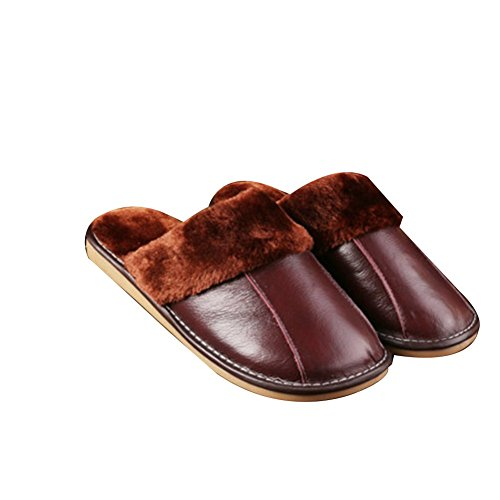 TELLW Winter Warm Leather Slippers For Men and Women Indoor Lovers Soft permeability Cowhide Slippers Marrone