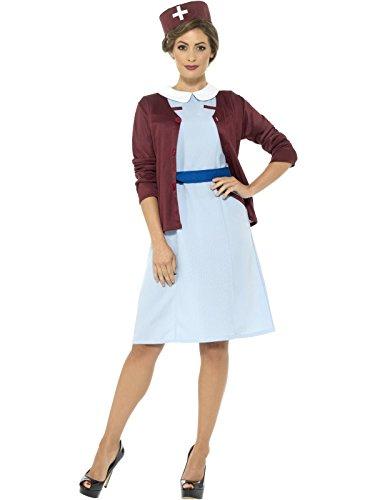 Smiffys Damen Vintage Krankenschwester Kostüm, Kleid, Cardigan, Gürtel und Hut, Größe: 32-34, 42796 (Vintage-zombie-kostüm)