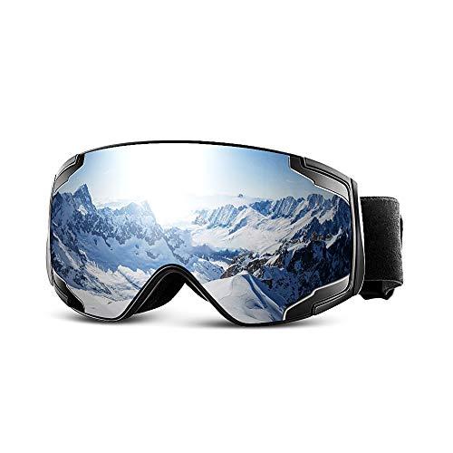 Extra Mile Maschera Sci OTG Anti Fog, Maschera Snowboard Protezione UV400 Antivento Donna Uomo, Occhiali da Neve Goggles Doppia Lente Sferica Staccabile Junior - Snowboard e Altri Sport Invernali