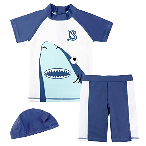 Gogokids Jungen Schwimmbekleidung Badeshorts UV-Schutz Bade-Set Hai mit Badekappe 1-4 Jahre