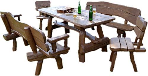 Ess-sets Bänke (Rustikale Gartengarnitur aus Massivholz | Gartenmöbel aus Eichen- und Akazienholz | Sitzplätze: ca. 8 Personen | Tisch, 2 Bänke, 2 Stühle)