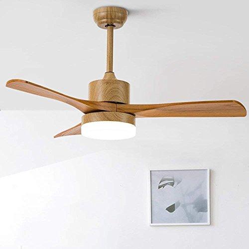 GAOLI Deckenventilator Licht Hause Eisen Holz Blatt Ventilator Beleuchtung LED Leuchtet Fernbedienung Holzmaserung 48 Zoll (Ganzen Haus, Deckenventilatoren)