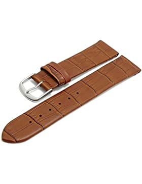 Meyhofer Uhrenarmband Pensacola 18mm hellbraun Leder Clip-Anstoß Alligator-Prägung ohne Naht MyHeklb187/18mm/hbraun...