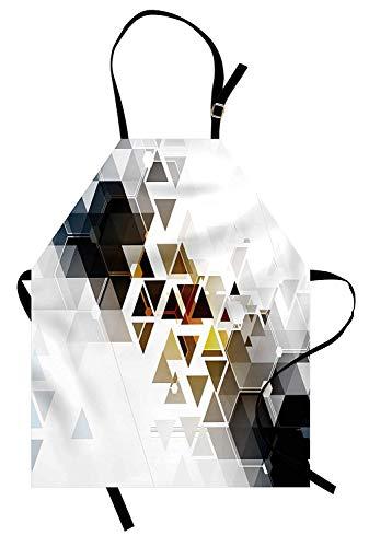 Modernes Schutzblech, abstraktes Technologie-themenorientiertes Bild mit Honey Bee Comb Geometric Shapes-Bildkunst, Unisex-Küchenschürze mit verstellbarem Hals für das Kochen Backen im Garten ()