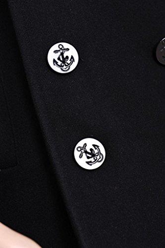 Seibertron Manteau de laine type US Navy 80% laine Peacoat USN Pea manteau - Caban - Manches longues - Homme Noir