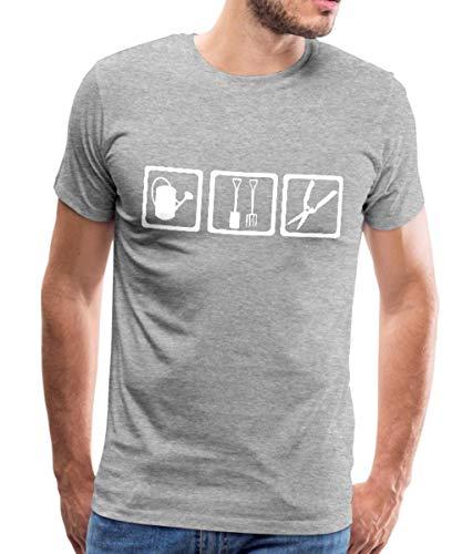 Spreadshirt Gärtner Gießen Graben Schneiden Männer Premium T-Shirt, M, Grau meliert