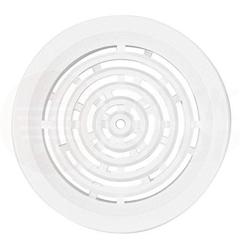 Griglia di ventilazione rotonda, in plastica ASA, per porte, bagno, WC, cucina per il ricircolo dell'aria, aspirazione e aerazione, rete di protezione insetti, diametro: Ø 50, 75, 100, 110, 125, 140,150mm, colori: bianco, marrone., bianco, Ø 50 mm