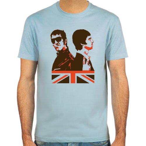Pixda T-Shirt Liam & Noel Gallagher (Oasis Legenden) ::: Farbauswahl: skyblue, sand oder weiß ::: Größen: S-XXL (Legende L/s Shirt)