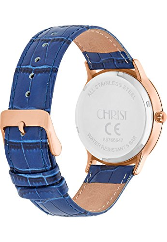 CHRIST times Damen-Armbanduhr Edelstahl Analog Quarz One Size, blau, blau -