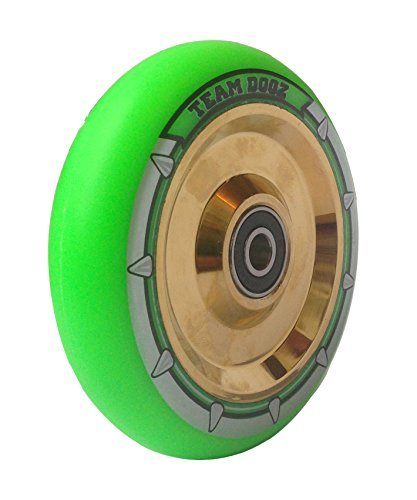 Team Dogz 110mm Hollow Core Stunt Scooter Wheel - Chrome Gold/Green