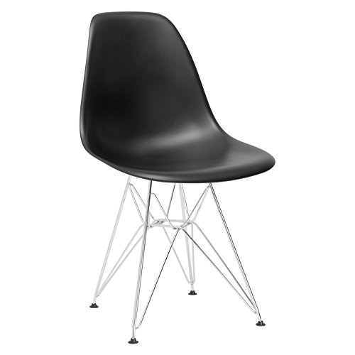 Poly and Bark Eames Style Molded Plastic Eiffel Side Chair, Black