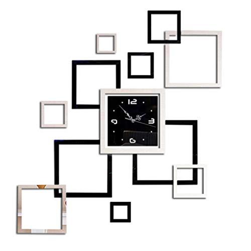 Busirde Spiegel Wanduhr Aufkleber-Set Selbstklebender rechteckig Schlafzimmer Shop Kunst-Dekor-Mirrored Dekorative Abziehbilder Poster