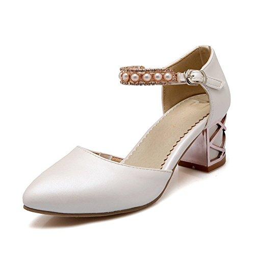 Adee Mädchen Perlen Schnalle Polyurethan Sandalen Weiß