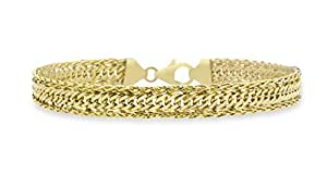 """Carissima Gold 9ct Yellow Gold Double Curb Spiga Bracelet of 18cm/7"""""""