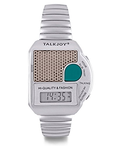 Profi Metallzugarmband Sprechende Armbanduhr Blindenuhr Wecker Sprachausgabe Zeitansage Sehbehinderte Knopfdruck (silber)